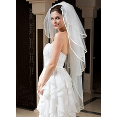 Four-tier Ribbon Edge Waltz Bridal Veils With Ribbon