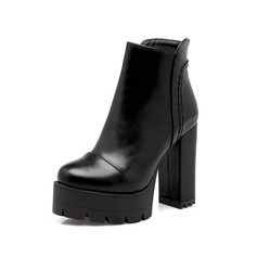 Women's Leatherette Chunky Heel Platform Ankle Boots shoes (088097037)