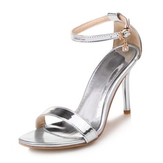 Women's Patent Leather Stiletto Heel Sandals Pumps With Rhinestone Buckle shoes (087168439)