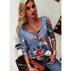 Regular Cotton Blends Cold Shoulder Floral Print Fitted Blouses (1003256808)