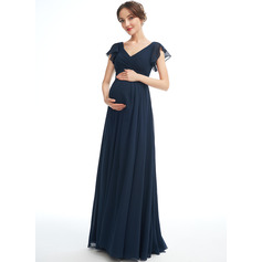 A-line V-Neck Floor-length Chiffon Maternity Bridesmaid Dress With Ruffle (045251916)