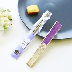 Elegant Lilac Practical Chopsticks and Silk Hand Fan Set Wedding Favor