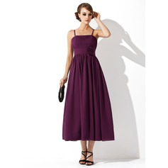 Empire Tea-Length Chiffon Maternity Bridesmaid Dress With Ruffle Flower(s) (045004419)