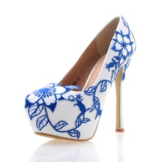 Women's Real Leather Stiletto Heel Closed Toe Platform Pumps With Flower