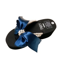 Women's Cloth Wedge Heel Sandals Flip-Flops With Imitation Pearl shoes