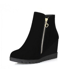 Women's Suede Wedge Heel Pumps Closed Toe Wedges Boots Ankle Boots With Zipper shoes