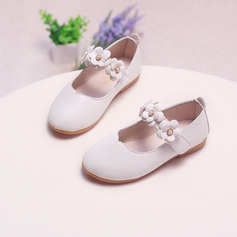 Jentas Lukket Tå Leather flat Heel Flower Girl Shoes med Velcro Blomst (207132901)