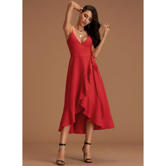 A-Line V-neck Asymmetrical Stretch Crepe Prom Dresses With Cascading Ruffles