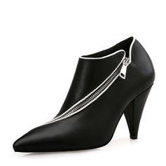 Femmes PU Talon cône Escarpins Bout fermé Bottines avec Zip chaussures