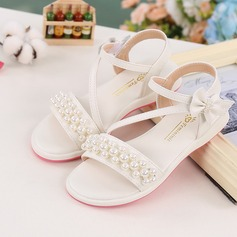 Girl's Peep Toe Microfiber Leather Flat Heel Sandals With Beading Bowknot Velcro