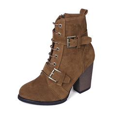 Women's Fabric Chunky Heel Boots With Buckle shoes