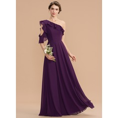 A-Line One-Shoulder Floor-Length Chiffon Bridesmaid Dress With Cascading Ruffles