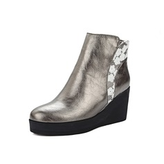 Women's Leatherette Wedge Heel Platform Ankle Boots With Split Joint shoes