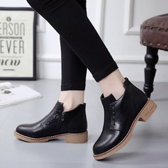 Women's PU Chunky Heel Boots Ankle Boots With Zipper shoes