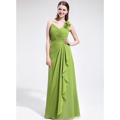 A-Line/Princess V-neck Floor-Length Chiffon Bridesmaid Dress With Flower(s) Cascading Ruffles