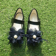 Girl's Round Toe Closed Toe Microfiber Leather Flat Heel Flats With Velcro Flower