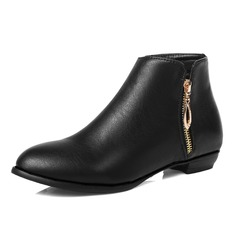 Women's Leatherette Flat Heel Ankle Boots shoes