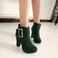 Women's Suede Chunky Heel Closed Toe Ankle Boots shoes