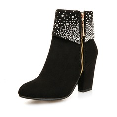 Women's Suede Chunky Heel Boots With Crystal Zipper shoes