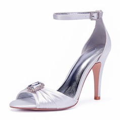 Women's Silk Like Satin Stiletto Heel Peep Toe Pumps Sandals With Rhinestone Ruffles Ruched