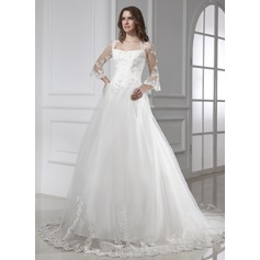 Ball-Gown Square Neckline Chapel Train Tulle Wedding Dress With Lace
