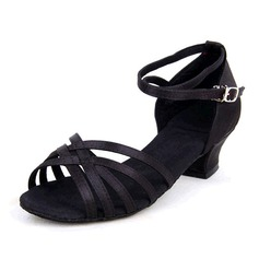 Women's Satin Sandals Latin With Hollow-out Dance Shoes