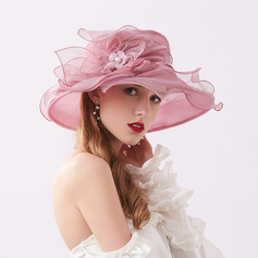 Ladies' Glamourous/Eye-catching Organza With Flower Beach/Sun Hats/Kentucky Derby Hats/Tea Party Hats (196230911)
