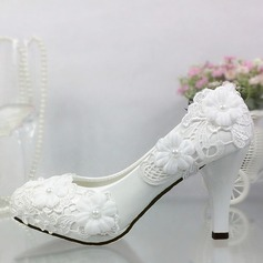 Women's Patent Leather Stiletto Heel Closed Toe Pumps With Imitation Pearl Stitching Lace Applique