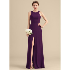 Scoop Neck Floor-Length Chiffon Bridesmaid Dress With Split Front (266196015)