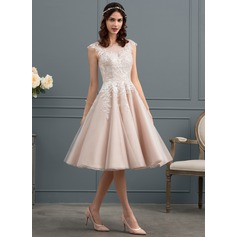 A-Line Illusion Knee-Length Tulle Wedding Dress With Sequins