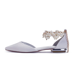 Women's Satin Flat Heel Pumps With Pearl