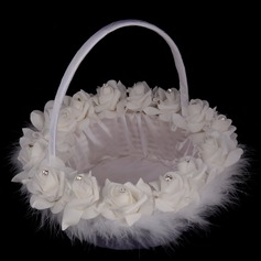 Elegant Flower Basket in Satin With Rhinestones (102142954)