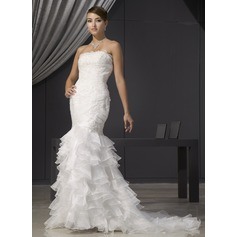 Trumpet/Mermaid Strapless Court Train Organza Wedding Dress With Lace Beading Cascading Ruffles