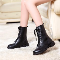 Women's PU Low Heel Boots Mid-Calf Boots With Lace-up shoes