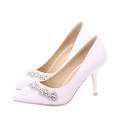 Women's Real Leather Spool Heel Closed Toe Pumps With Rhinestone