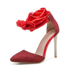 Women's Fabric Stiletto Heel Sandals Pumps Closed Toe With Lace-up shoes