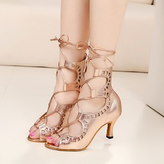 Women's Leatherette Heels Latin With Ankle Strap Lace-up Dance Shoes