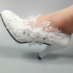 Vrouwen Kunstleer Stiletto Heel Closed Toe Pumps met Kralen Stitching Lace (047153508)