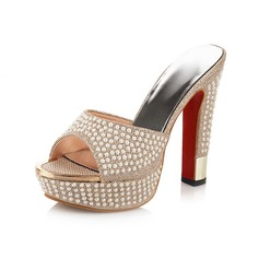Women's Chunky Heel Pumps Peep Toe Slippers With Imitation Pearl shoes