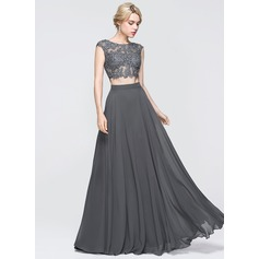 A-Line/Princess Scoop Neck Floor-Length Chiffon Prom Dress With Beading Sequins (018089725)