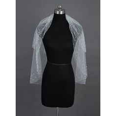 Two-tier Elbow Bridal Veils With Cut Edge/Pearl Trim Edge