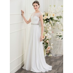 A-Line/Princess Scoop Neck Sweep Train Chiffon Wedding Dress With Beading Sequins