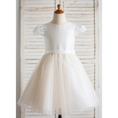 A-Line/Princess Knee-length Flower Girl Dress - Taffeta/Tulle Short Sleeves Scoop Neck
