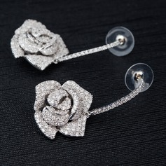 Romantic Flowers Zircon Ladies' Earrings