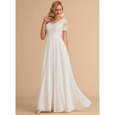 V-neck Floor-Length Chiffon Lace Wedding Dress (265233103)