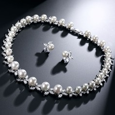 Classic Pearl/Zircon Ladies' Jewelry Sets