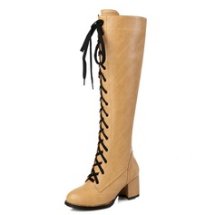 Women's Leatherette Chunky Heel Knee High Boots shoes