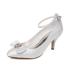 Women's Satin Stiletto Heel Closed Toe Pumps With Bowknot