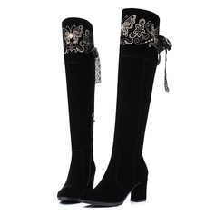 Women's Suede Chunky Heel Pumps Over The Knee Boots With Satin Flower Stitching Lace Zipper shoes