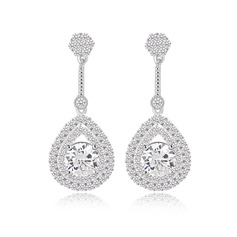 Unique Zircon/Platinum Plated Ladies' Earrings